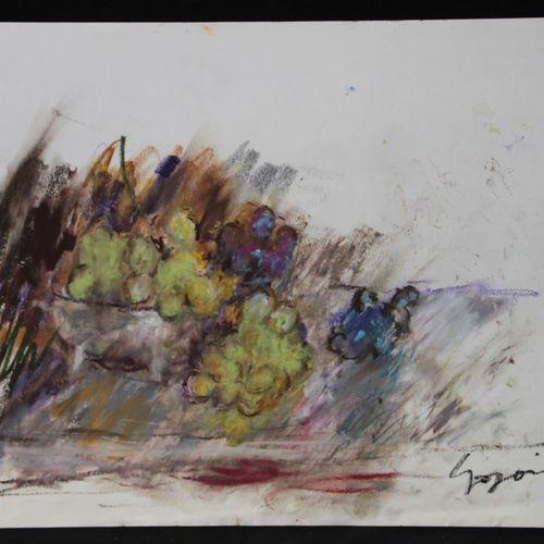 """Pierre GOGOIS (né en 1935). """"Grappes de raisins"""". Pastel gras sur papier, signé …"""