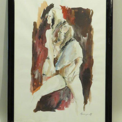 Massimo MARANGIO (né en 1961). Les deux amies. Encre de Chine et aquarelle sur p…