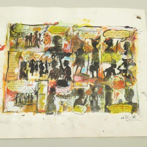 Nicolas D'OLCE (XXème). Compositions. Technique mixte sur fond d'une page de Ban…