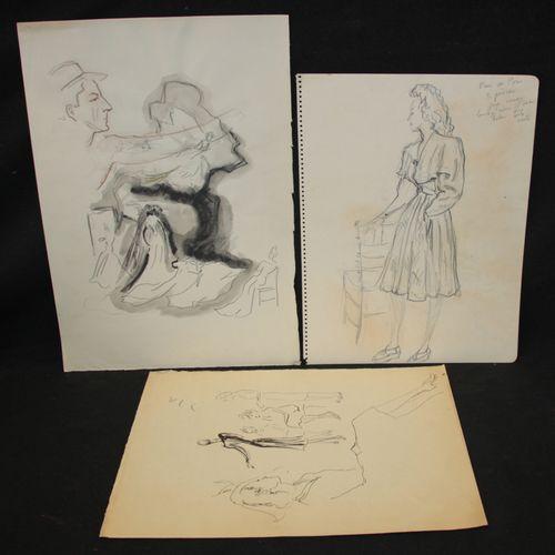 Charles KIFFER (1902 1992). Lot de deux dessins au lavis d'encre et un dessin au…