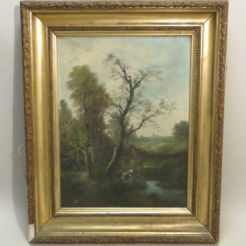 Charles HENRY (XIX Xxème). Paysanne en sous bois. Huile sur toile, signée en bas…