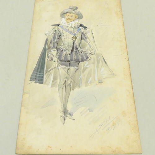 "Alfredo EDEL (1856 1912). ""Henri IV"" (projet de costume), Paris, 1909. Aquarelle…"