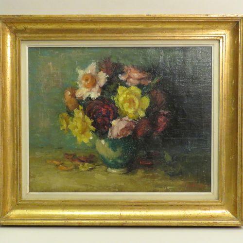 """Luce VERSLUYS (1912 ?). """"Roses jaunes"""", 1954. Huile sur toile de lin, signée en …"""