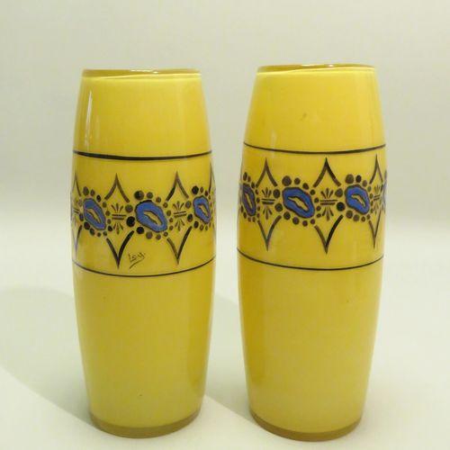 François Théodore LEGRAS (1839 1916). Paire de vases de forme oblong en verre à …