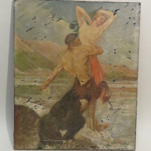"""D.AYME (XIX Xxème). """"L'enlèvement de Déjanire par Le Centaure Nessus"""", 1922. Hui…"""