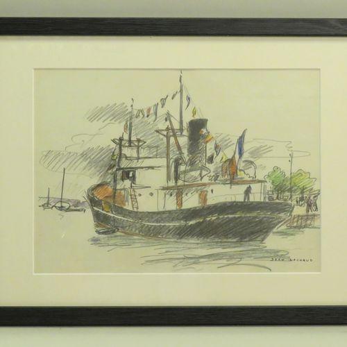 Jean LACHAUD (1882 1952). Bateau au port. Crayon et pastel sur papier, signé en …