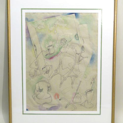 """Gérard GUYOMARD (né en 1936). """"La Stratégie de l'escalier"""", 1988. Crayon et aqua…"""