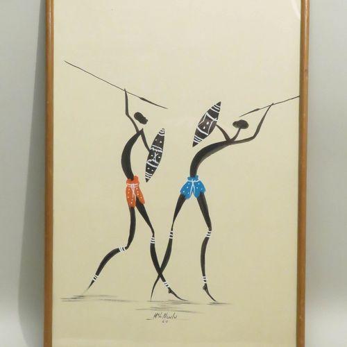 NCULU (Xxème). Les Guerriers, 1964. Encre de Chine et gouache sur papier, signée…