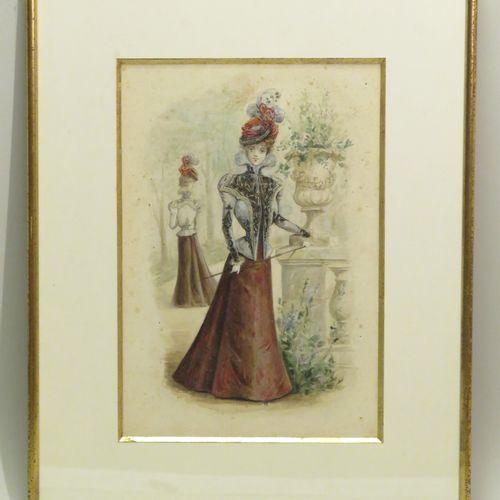 Attribué à Eugène Henri CAUCHOIS (1850 1911). Elégante au vase Médicis. Aquarell…