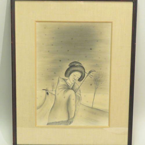 Shinichi SAITO (1922 1994). Joueuse de shamisen triste. Lavis d'encre de Chine s…