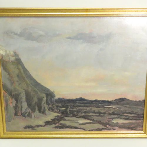 Ecole française du Xxème siècle. Bord de falaise. Huile sur toile, porte une sig…