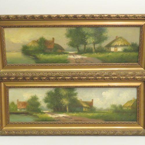 Ecole française du Xxème siècle. Paysages aux chaumières. Paire d'huiles sur pan…