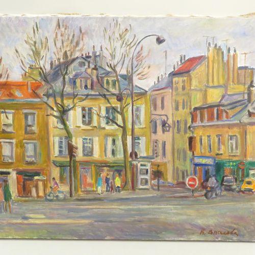 """Klara Filippovna VLASOVA (née en 1926). """"Rue à Versailles animée"""". Huile sur toi…"""