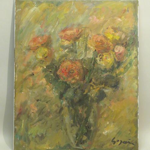 Pierre GOGOIS (né en 1935). Le vase fleuri. Huile sur toile, signée en bas à dro…