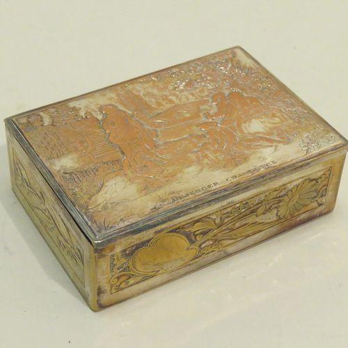 Boîte/coffret à timbres postes en métal argenté (désargenté partiellement au cou…