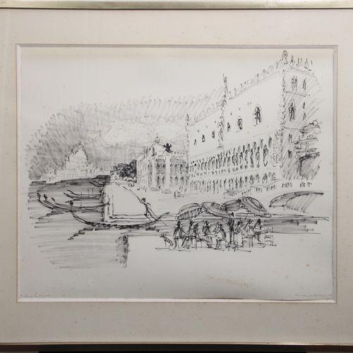 """Pierre BOUDET ((1915/25 2010). """"Venise"""", 1968. Encre de Chine sur papier, signée…"""