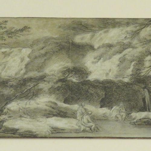 Vue des Cascatelles de Tivoli. Fusain et rehauts de craie blanche sur Vergé. XIX…