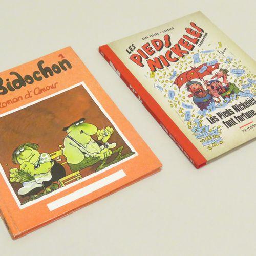 Lot de deux BD diverses, comprenant : LES BIDOCHON, Roman d'amour (1) ; LES PIED…