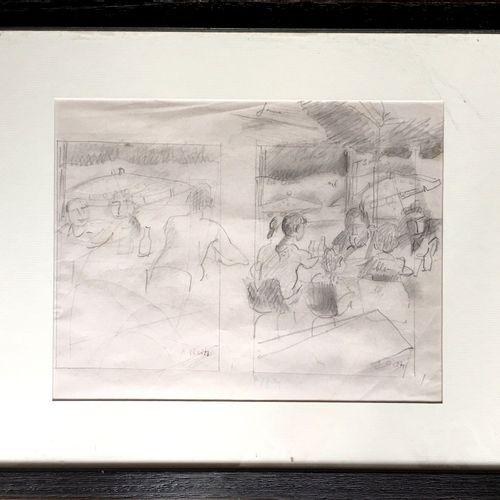 Alfred RETH (1884 1966). Etude : Scène de bistrot. Mine de plomb sur papier, sig…