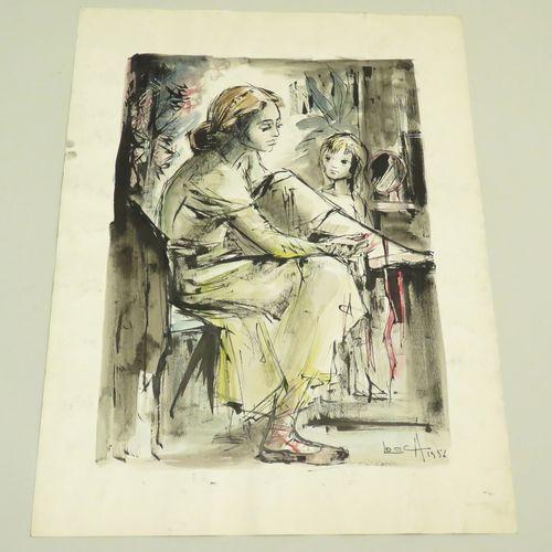 Bernard LOCCA (1926 1997). La Danseuse, 1956. Encre de Chine et aquarelle sur pa…