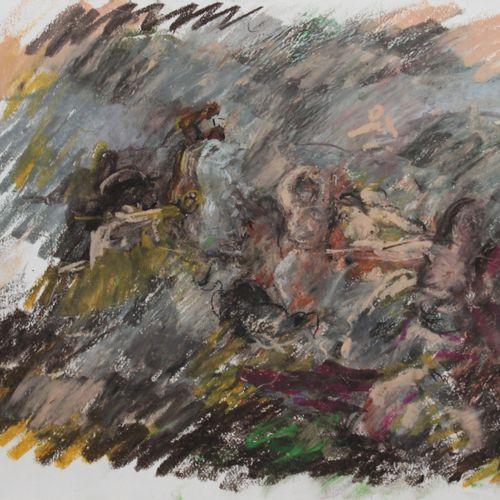 """Pierre GOGOIS (né en 1935). """"Première bataille d'Aix"""". Pastel gras sur papier, s…"""