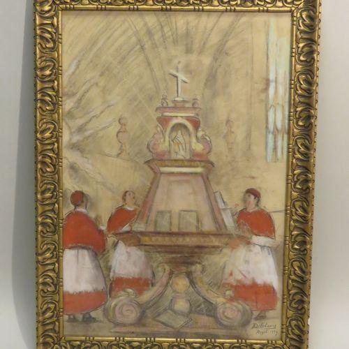 Robert Adrien DELÉTANG (1874 1951). Scène religieuse, 1934. Fusain, pastel et go…