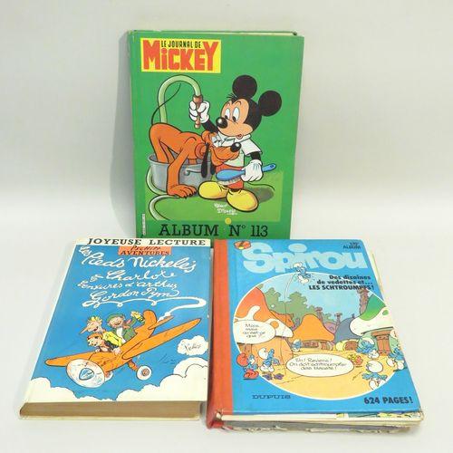 Lot de 3 albums de BD (Journal de Mickey ; Les Pieds Nickelés ; Spirou). Etat mo…