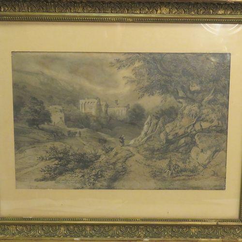 Jules COIGNET (1798 1860). Paysage animé de personnages. Mine de plomb et fusain…