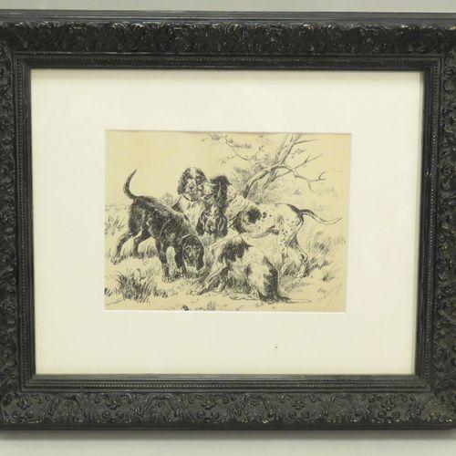 Attribué à Louis D'AX (XIXème XXème). Les quatres chiens de chasse. Encre de Chi…
