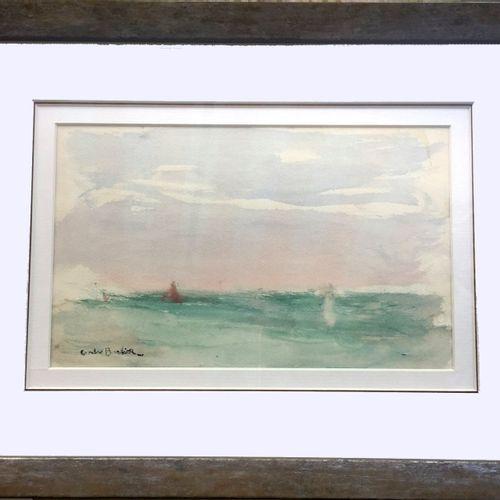 André BARBIER (1883 1970). Marine. Aquarelle et rehauts de gouache blanche sur p…