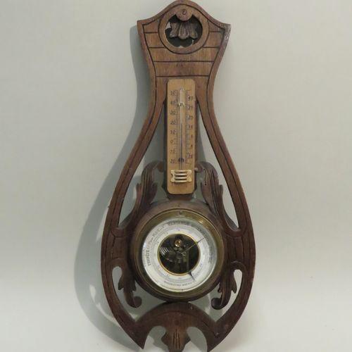 Baromètre en bois naturel. 39,5 x 18 cm. (ne fonctionne pas).