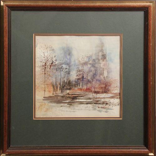 Philippe JARRAUD (Xxème). Paysage de la Drôme. Aquarelle sur papier, signée en b…