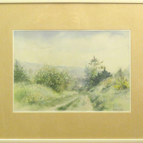 B.ROUSSELON. Paysage. Aquarelle sur papier, signée en bas à droite. Haut : 29 cm…