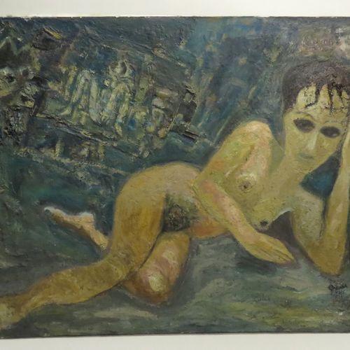 François OZENDA (1923 1976). Nu allongé, 1962. Huile sur toile, signée etdatée e…