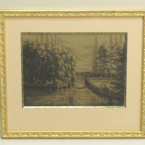 Ecole française du Xxème siècle. Payasge au pont. Pierre noire sur papier, non s…