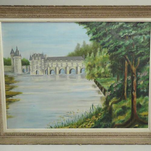 H.MANGAUD (Xxème). Château de Chenonceau. Huile sur toile, signée en bas à droit…