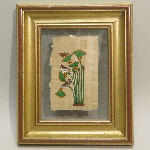 PAPYRUS EXHIBITION. Peinture encadrée sur papyrus. Tampon au dos. 16 x 10.5 cm.