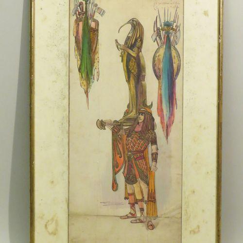 """Charles BETOUT (1869 1945). Projet de costume : """"Thot, Dieu protecteur des guerr…"""