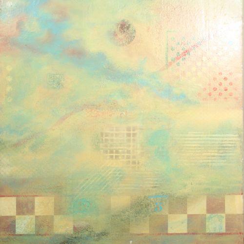 LUBIN (Xxème). Composition, 1988. Acrylique sur toile, signé en bas à droite, co…