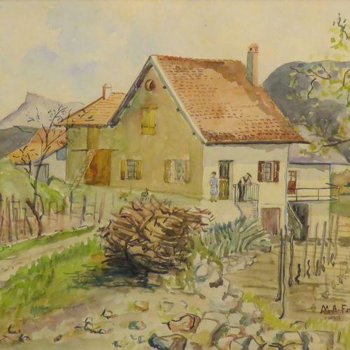 Anne FRANÇAIS (1909 1995). Paysage du Jura. Aquarelle sur papier, signée en bas …