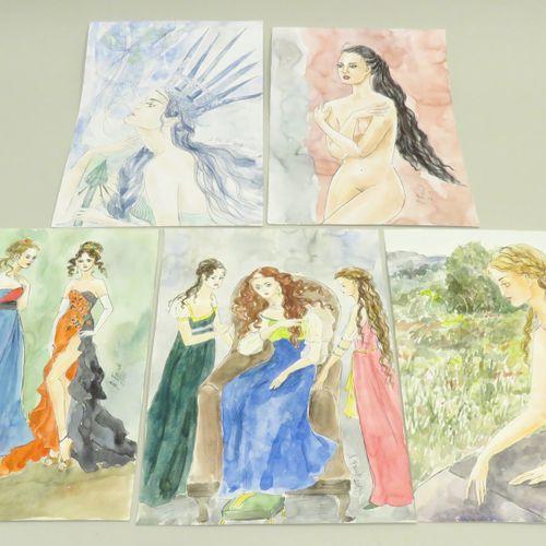 A.FRICK (Xxème). Jeunes femmes, 2013. Lot de cinq encres de Chine et aquarelles …