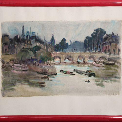 """Pierre BOUDET ((1915/25 2010). """"Paris, Le Pont Neuf"""", 1966. Aquarelle et gouache…"""