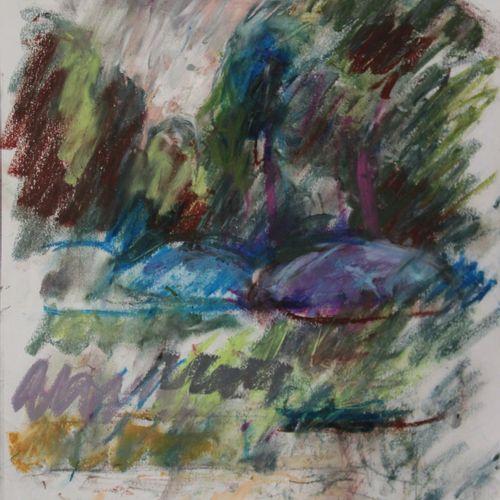 """Pierre GOGOIS (né en 1935). """"Les parasols"""". Pastel gras sur papier, signé en bas…"""