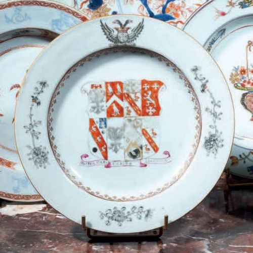 CHINE Porcelain plate with polychrome decoration of the enamels of the Rose Fami…