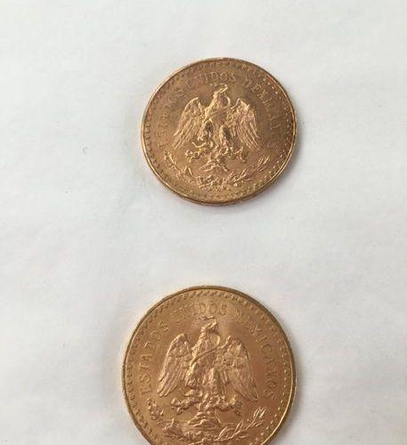 Deux pièces d'or 50 pesos  1946  83g
