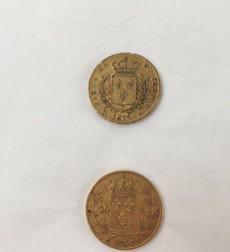 Ensemble de deux Louis d'or 20 Francs  Louis XVIII roi des francais 1814. 1824  …