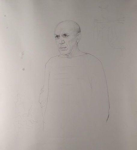 [PICASSO Pablo]. WREDE Maria (1898 1981). PORTRAIT OF PABLO PICASSO. ORIGINAL DR…
