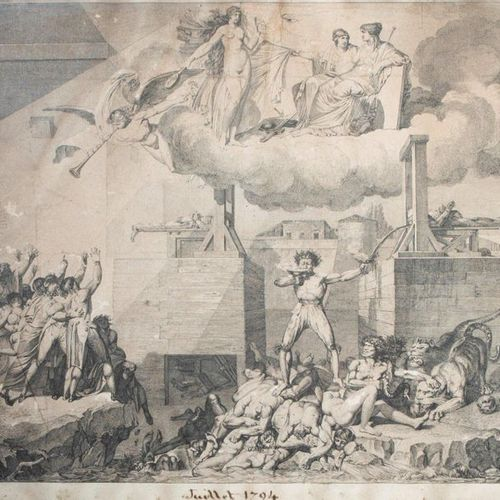 Revolutionary Engraving The acerbic forms Annotated July 1794 down the center 27…