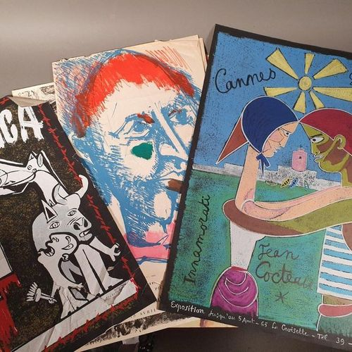 LOT of 4 POSTERS COCTEAU KANDINSKY AND GUERNICA ARRABAL + LUC SIMON AND LORJOU P…