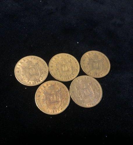 Lot of 5 pieces 20F gold Napoleon III  1862; 1863; 1863; 1865; 1865 Laureate hea…